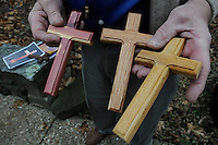 STAFF PHOTO FLIP PUTTHOFF <br /> CARVING OPPORTUNITY<br /> Knapp shows crosses he carves and    Dec. 2 2014      gives away.
