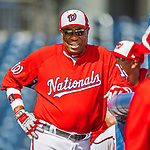 28 February 2017: Washington Nationals Manager Dusty Baker watches his team take batting practice prior to the inaugural Spring Training game between the Washington Nationals and the Houston Astros at the Ballpark of the Palm Beaches in West Palm Beach, Florida. The Nationals defeated the Astros 4-3 in Grapefruit League play. Mandatory Credit: Ed Wolfstein Photo *** RAW (NEF) Image File Available ***