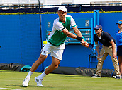 June 19th 2017, Queens Club, West Kensington, London; Aegon Tennis Championships, Day 1; Number seven seed Tomas Berdych (CZE) hits a backhand during his singles match against Steve Darcis (BEL); Berdych won in straight sets