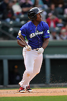 First baseman Josh Ockimey (18) of the Greenville Drive bats in a game against the Asheville Tourists on Sunday, April 10, 2016, at Fluor Field at the West End in Greenville, South Carolina. Greenville won 7-4. (Tom Priddy/Four Seam Images)