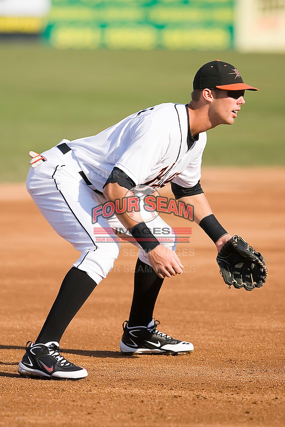 Third baseman Bill Rowell (11) of the Frederick Keys on defense at Harry Grove Stadium in Frederick, MD, Monday July 14, 2008. (Photo by Brian Westerholt / Four Seam Images)