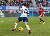 HARRISON, NJ - MARCH 08: Christen Press #23 of the United States dribbles during a game between Spain and USWNT at Red Bull Arena on March 08, 2020 in Harrison, New Jersey.