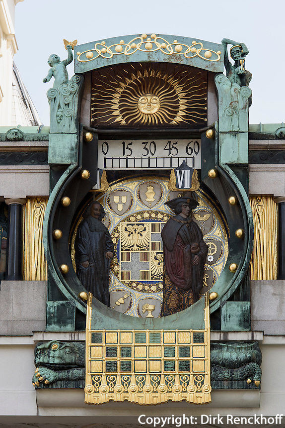 Jugendstil-Ankeruhr von Franz Matsch, Hoher Markt,Wien, &Ouml;sterreich, UNESCO-Weltkulturerbe<br /> Art Nouveau Anchor Clock by Franz Matsch, Hoher Markt, Vienna, Austria, world heritage