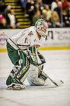 24 October 2015: University of Vermont Catamount Goaltender Mike Santaguida, a Junior from Mississauga, Ontario, in first period action against the University of North Dakota at Gutterson Fieldhouse in Burlington, Vermont. North Dakota defeated the Catamounts 5-2 in the second game of their weekend series. Mandatory Credit: Ed Wolfstein Photo *** RAW (NEF) Image File Available ***