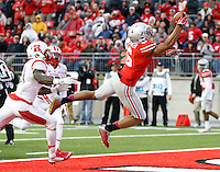 Ohio State Buckeyes wide receiver Evan Spencer (6) makes a one-handed catch for a touchdown behind Rutgers Scarlet Knights defensive back Lorenzo Waters (21) during the third quarter of the NCAA football game at Ohio Stadium in Columbus on Oct. 18, 2014. (Adam Cairns / The Columbus Dispatch)
