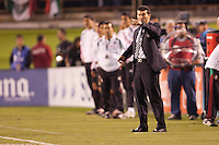 Mexico national team headcoach Jose de la Torre shouting directions to his players. The national teams of Mexico and Venezuela played to a 1-1 draw in an International friendly match at  Qualcomm stadium in San Diego, California on  March 29, 2011...