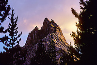 Ragged Peak at Sunset. Warm Sun and Cool Shadows on Stone & Clouds. Young Lakes, Yosemite National Park. View shot on Kodachrome II, Nikon Ftn camera, Nikor 105mm f/2.5 lens, 1 August 1973