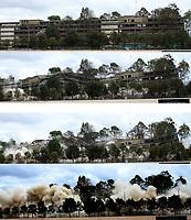 BOGOTA - COLOMBIA - 19 - 11 - 2017 . La Agencia Nacional Inmobiliaria Virgilio Barco Vargas  inició proyecto de renovación  urbana con la implosión del antiguo edificio del Ministerio de Transporte , el proceso de demolición ejecutado por la empresa Demoliciones Atila Implosión S.A.S. tuvo una duración aproximada de 5 segundos  y contó con cerca de 150 kilos de explosivosPhoto: VizzorImage  /Felipe Caicedo / Staff.