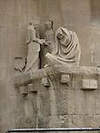 Detail of  Passion Facade, Sagrada Familia Church, Barcelona, Spain by Jospep Maria Subirachs.