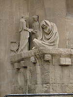 Detail of  Passion Facade, Sagrada Familia Church, Barcelona, Spain by Jospep Maria Subirachs.