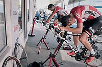 Tiesj Benoot (BEL/Lotto-Soudal) &amp; Tony Gallopin (FRA/Lotto-Soudal) warming down after the stage<br /> <br /> 104th Tour de France 2017<br /> Stage 16 - Le Puy-en-Velay &rsaquo; Romans-sur-Is&egrave;re (165km)