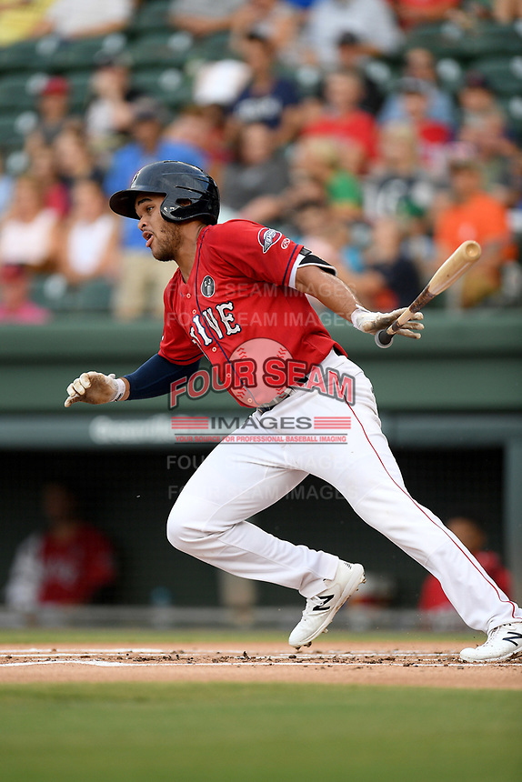 Third baseman Brandon Howlett (35) of the Greenville Drive bats in a game against the Asheville Tourists on Friday, August 23, 2019, at Fluor Field at the West End in Greenville, South Carolina. Greenville won, 11-1. (Tom Priddy/Four Seam Images)