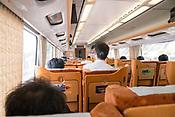 Inside of a bullet train in southern Japan.