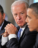 Washington, D.C. - January 4, 2010 -- United States Vice President Joseph Biden listens as U.S. President Barack Obama makes remarks during a meeting with a bipartisan group of Governors from across the country in the State Dining Room to discuss energy policy in Washington, D.C. on Wednesday, February 3, 2010..Credit: Ron Sachs / Pool via CNP