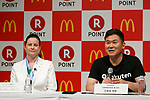(L to R) McDonald's Japan CEO and President Sarah Casanova and Japan's online shopping giant Rakuten president Hiroshi Mikitani speak during a news conference on May 26, 2017, Tokyo, Japan. Rakuten and McDonald's have cemented their business relationship by launching an original point card which can be used at all of the 2,900 McDonald's stores in Japan. (Photo by Rodrigo Reyes Marin/AFLO)