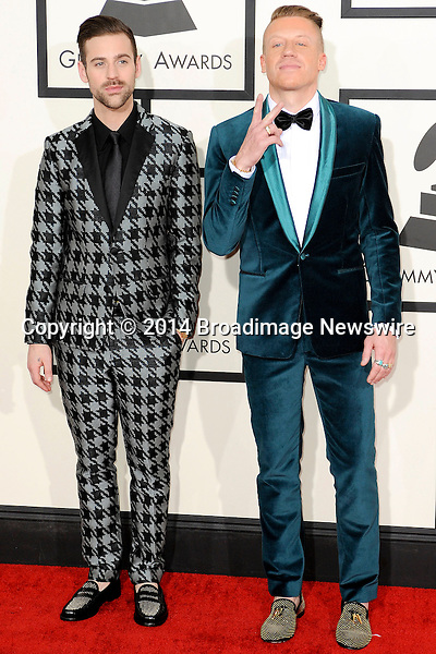 Pictured: Macklemore, Ryan Lewis<br /> Mandatory Credit &copy; Adhemar Sburlati/Broadimage<br /> The Grammy Awards  2014 - Arrivals<br /> <br /> 1/26/14, Los Angeles, California, United States of America<br /> <br /> Broadimage Newswire<br /> Los Angeles 1+  (310) 301-1027<br /> New York      1+  (646) 827-9134<br /> sales@broadimage.com<br /> http://www.broadimage.com
