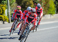 The USA team competes in race one of the Trust House Women's Cycle Tour Of New Zealand in Masterton, New Zealand on Wednesday, 18 February 2015. Photo: Dave Lintott / lintottphoto.co.nz