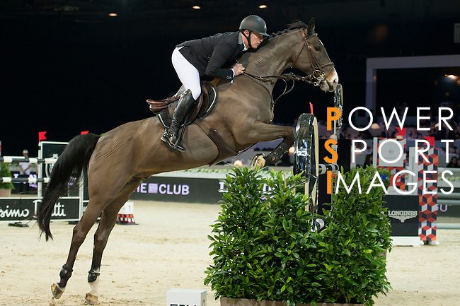 Roger Yves Bost on Record d'Oreal competes during the Table A with Jump-off 145 - Airbus Trophy at the Longines Masters of Hong Kong on 20 February 2016 at the Asia World Expo in Hong Kong, China. Photo by Li Man Yuen / Power Sport Images