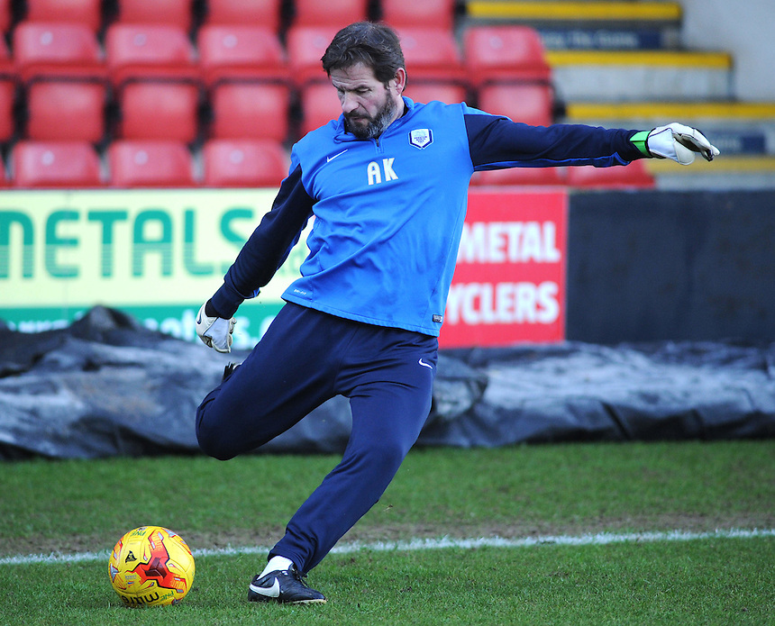 Preston North End's stand-in Goalkeeping Coach John Vaughan (???)<br /> <br /> Photographer Kevin Barnes/CameraSport<br /> <br /> Football - The Football League Sky Bet League One - Crewe Alexandra v Preston North End - Sunday 28th December 2014 - Alexandra Stadium - Crewe<br /> <br /> &copy; CameraSport - 43 Linden Ave. Countesthorpe. Leicester. England. LE8 5PG - Tel: +44 (0) 116 277 4147 - admin@camerasport.com - www.camerasport.com