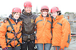 Michele Mooney, Margaret Rafferty and Ann McCormack who abseiled off the roof of the D Hotel to raise money for Drogheda Animal Rescue with Eoin O'Rourke of Carlingford Adventure Centre...Picture Jenny Matthews/Newsfile.ie