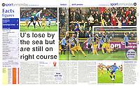 Double Page spread coverage of Southport FC v Cambridge United in the 'Cambridge News' 04/11/13.