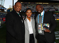 Xola Ntshinga Supersport rugby commentator with Motshidisi Mohono Supersport rugby commentator and Owen Nkumane Supersport rugby commentator during the 2018 Castle Lager Incoming Series 2nd Test match between South Africa and England at the Toyota Stadium.Bloemfontein,South Africa. 16,06,2018 Photo by Steve Haag / stevehaagsports.com