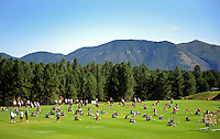 Jul 30, 2008; Flagstaff, AZ, USA; Arizona Cardinals players stretch during training camp on the campus of Northern Arizona University. Mandatory Credit: Mark J. Rebilas-