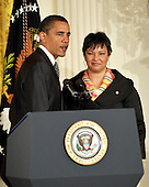 Washington, D.C. - January 26, 2009 -- United States President Barack Obama and Lisa Jackson, Administrator, United States Environmental Protection Agency (EPA), right, after the President made remarks on Jobs, Energy Independence and Climate Change in the East Room of the White House in Washington, D.C. on Monday, January 26, 2009..Credit: Ron Sachs / CNP
