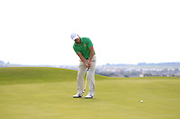 Colin Fairweather (IRL) on the 14th green during the Afternoon Singles between Ireland and Wales at the Home Internationals at Royal Portrush Golf Club on Thursday 13th August 2015.<br /> Picture:  Thos Caffrey / www.golffile.ie