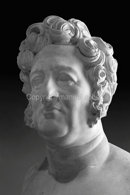 Bust of Louis Philippe, made in 1830 in plaster by James Pradier, 1790-1852, 1 of a group of 9 moulds commissioned by Louis Philippe's government, in the Musee des Beaux-Arts de la Ville de Blois, housed since 1869 on the first floor of the Louis XII wing of the Chateau Royal de Blois, built 13th - 17th century in Blois in the Loire Valley, Loir-et-Cher, Centre, France. The museum originally opened in 1850 in the Francois I wing, but moved here in 1869 after the rooms had been restored by Felix Duban in 1861-66. The chateau has 564 rooms and 75 staircases and is listed as a historic monument and UNESCO World Heritage Site. Picture by Manuel Cohen