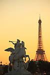 The statue of Ronommee riding Pegasus decorated the west entrance of Tuileries Garden. city of Paris. Paris