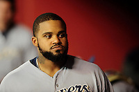 May 7, 2010; Phoenix, AZ, USA; Milwaukee Brewers first baseman Prince Fielder against the Arizona Diamondbacks at Chase Field. The Brewers defeated the Diamondbacks 3-2. Mandatory Credit: Mark J. Rebilas-