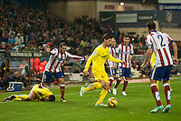 Atletico de Madrid´s Koke, Diego Godin and Villarreal´s Luciano Dario Vietto during 2014-15 La Liga match between Atletico de Madrid and Villarreal at Vicente Calderon stadium in Madrid, Spain. December 14, 2014. (ALTERPHOTOS/Luis Fernandez) /NortePhoto