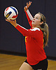 Riley Leimbach #18 of Sacred Heart Academy serves during the third set of a CHSAA varsity girls volleyball match against host St. John the Baptist High School in West Islip on Thursday, Oct. 12, 2017. Sacred Heart won the match 3-0.