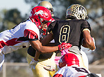 Palos Verdes, CA 10/27/17 - Ethan Han (Peninsula #8) and Andrew Tate (Morningside #5)in action during the Morningside Monarchs - Palos Verdes Peninsula Varsity football game at Peninsula High School.