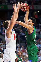 Real Madrid's player Luka Doncic and Unicaja Malaga's player Dani Diez during match of Liga Endesa at Barclaycard Center in Madrid. September 30, Spain. 2016. (ALTERPHOTOS/BorjaB.Hojas) /NORTEPHOTO.COM