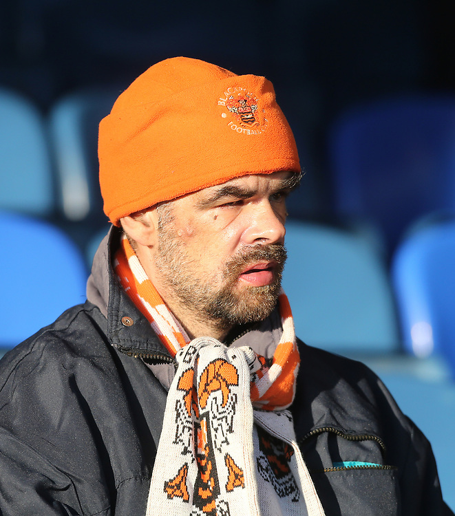 Blackpool fan<br /> <br /> Photographer Rob Newell/CameraSport<br /> <br /> The EFL Sky Bet League One - Southend United v Blackpool - Saturday 17th November 2018 - Roots Hall - Southend<br /> <br /> World Copyright © 2018 CameraSport. All rights reserved. 43 Linden Ave. Countesthorpe. Leicester. England. LE8 5PG - Tel: +44 (0) 116 277 4147 - admin@camerasport.com - www.camerasport.com