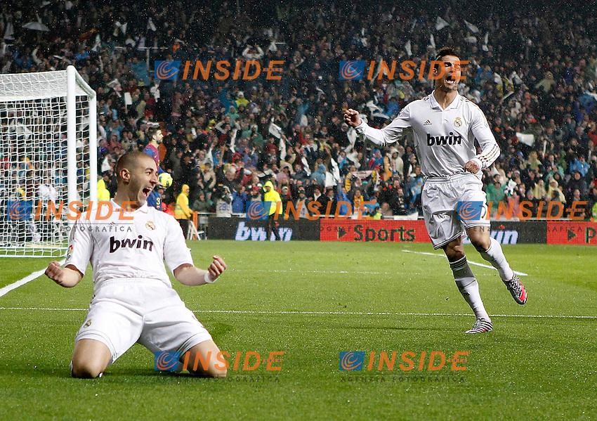 Real Madrid's Karim Benzema celebrates with Cristiano Ronaldo during La Liga Match. December 10, 2011. (Insidefoto/Alvaro Hernandez) .Barcellona Real Madrid .ITALY ONLY