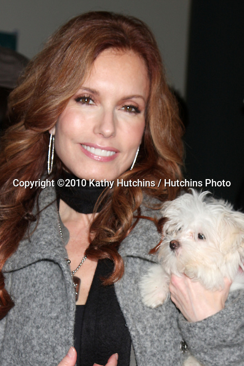 LOS ANGELES - NOV 20:  Tracey Bregman, and dog in training Hazel at the Connected's Celebrity Gift Suite celebrating the 2010 American Music Awards at Ben Kitay Studios on November 20, 2010 in Los Angeles, CA