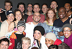 Dennis Stowe with Raul Esparza, Bryce Ryness, Talon Ackerman, Michelle Duffy, Jessica Phillips & Company .attending the Broadway Opening Night Gypsy Robe Ceremony honoring  Dennis Stowe in 'LEAP OF FAITH' on 4/26/2012 at the St. James Theatre in New York City.