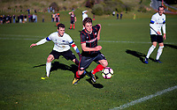 Action from the 2018 Central League football match between the Western Suburbs and Miramar Rangers at Endeavour Park in Wellington, New Zealand on Sunday, 22 July 2018. Photo: Dave Lintott / lintottphoto.co.nz