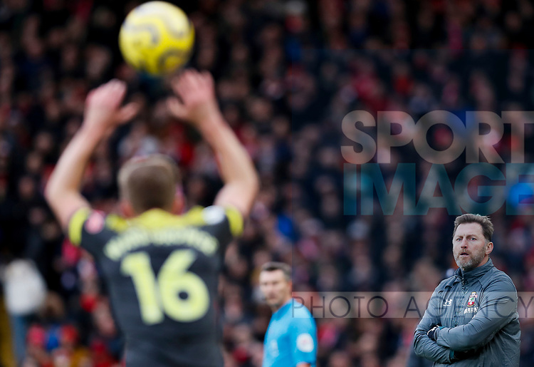 Southampton manager Ralph Hasenhuttl (r) watches James Ward-Prowse take a throw in during the Premier League match at Anfield, Liverpool. Picture date: 1st February 2020. Picture credit should read: James Wilson/Sportimage