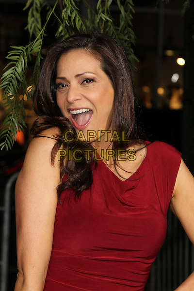 "CONSTANCE MARIE.""Beautiful Creatures"" Los Angeles Premiere held at the TCL Chinese Theatre, Hollywood, California, USA. .February 6th, 2013.half length red dress mouth open.CAP/CEL .©CelPh/Capital Pictures."