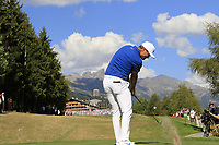 Lucas Bjerregaard (DEN) tees off the 18th tee during Sunday's Final Round 4 of the 2018 Omega European Masters, held at the Golf Club Crans-Sur-Sierre, Crans Montana, Switzerland. 9th September 2018.<br /> Picture: Eoin Clarke | Golffile<br /> <br /> <br /> All photos usage must carry mandatory copyright credit (&copy; Golffile | Eoin Clarke)