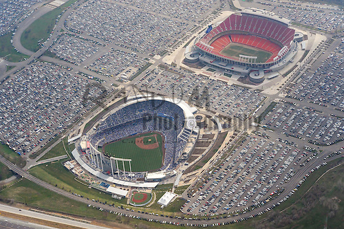 April 08, 2013; Kansas City, MO, USA; A general view of both Kauffman and Arrowhead stadiums on opening day of the game between the Minnesota Twins and the Kansas City Royals at Kauffman Stadium. Mandatory Credit: Denny Medley-USA TODAY Sports
