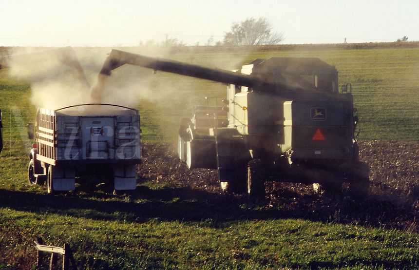 A combine empties its load into a truck on a farm.