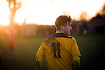 Home player Josh March pictured during the first-half at Lye Meadow as Alvechurch (in amber) hosted Highgate United in a Midland Football League premier division match. Originally founded in 1929 and reformed in 1996 after going bust, the club has plans to move from their current historic ground to a new purpose-built stadium in time for the 2017-18 season. Alvechurch won this particular match by 3-0, watched by 178 spectators, taking them back to the top of the league.