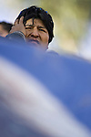&copy;PATRICIO CROOKER<br /> Chuquisaca, Bolivia<br /> A picture dated August 5, 2007 shows Bolivian President Evo Morales attending a ceremony in the city of Sucre.