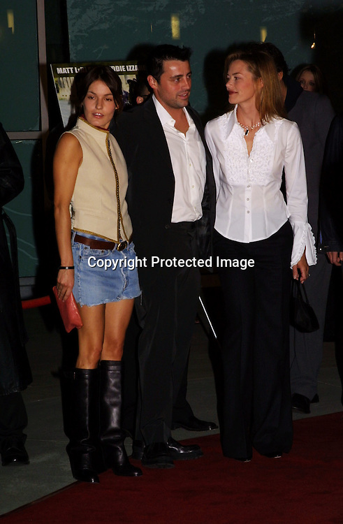 "©2002 KATHY HUTCHINS/ HUTCHINS PHOTO.""ALL THE QUEEN'S MEN "" PREMIERE. SUNSET BLVD,CA. 10/21/02.NICOLETTE KREBITZ WITH  MATT  LEBLANC AND HIS FIANCE"