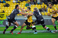 James Marshall in action during the Super Rugby match between the Hurricanes and Sharks at Westpac Stadium, Wellington, New Zealand on Saturday, 9 May 2015. Photo: Dave Lintott / lintottphoto.co.nz